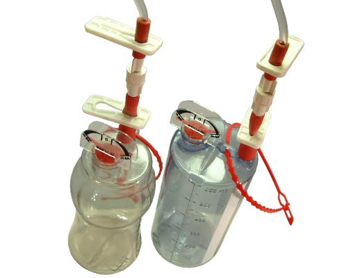 200-03, 450ml & 600ml pre-vacuumed sterile wound drainage bottles